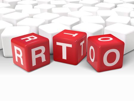 3D-afbeelding dobbelstenen met woord RTO hersteltijd doelstelling op een witte achtergrond