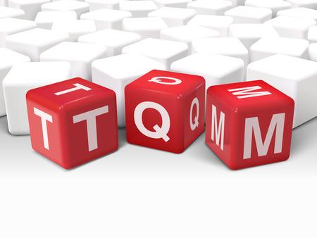dés 3d illustration avec la gestion de la qualité totale mot de TQM sur fond blanc
