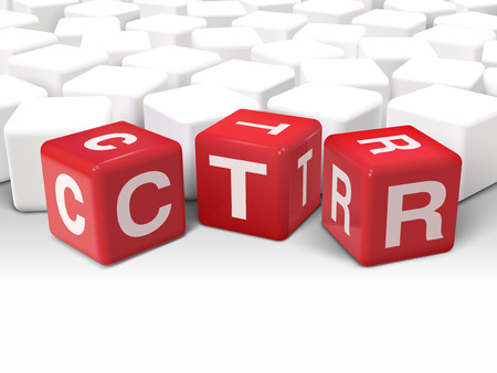 3d illustration dice with word CTR click through rate on white background