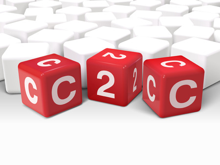 b2e: 3d illustration dice with word C2C client to client on white background