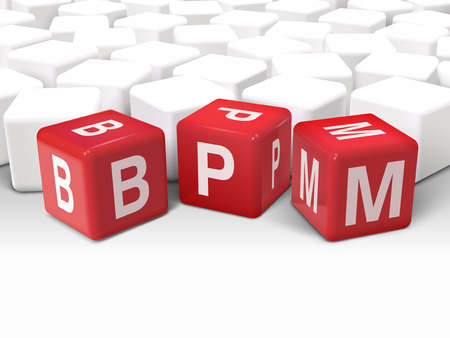 bpm: 3d illustration dice with word BPM business process management on white background