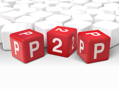peer to peer: 3d illustration dice with word P2P peer to peer on white background
