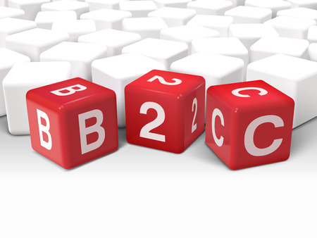 b2c: 3d illustration dice with word B2C business to consumer on white background