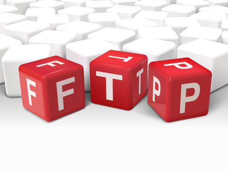 3d illustration dice with word FTP File transfer Protocol on white background