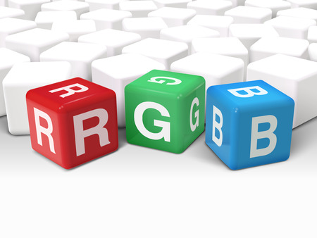 rgb: 3d illustration dice with printing concept word RGB on white background Illustration