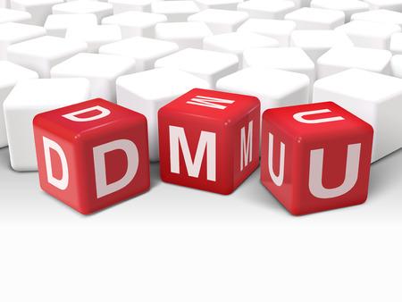 3d illustration Würfel mit Wort DMU Entscheidungsfindung Einheit auf weißem Hintergrund