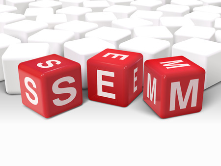 sem: 3d illustration dice with word SEM Search Engine Marketing on white background