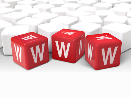 word www: 3d illustration dice with word WWW World Wide Web on white background