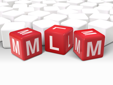 mlm: 3d illustration dice with word MLM Multi Level Marketing on white background Illustration