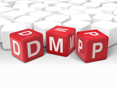debt management: 3d illustration dice with word DMP debt management plan on white background