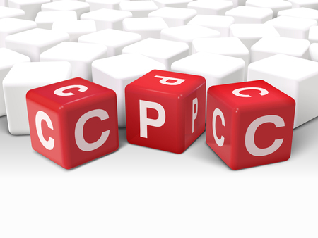 cpc: 3d illustration dice with word CPC Cost Per Click on white background Illustration