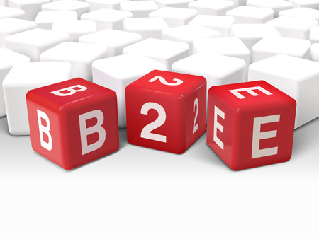 b2e: 3d illustration dice with word B2E business to employee on white background Illustration