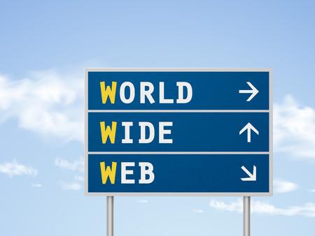 provider: 3d illustration world wide web road sign isolated on blue sky Illustration