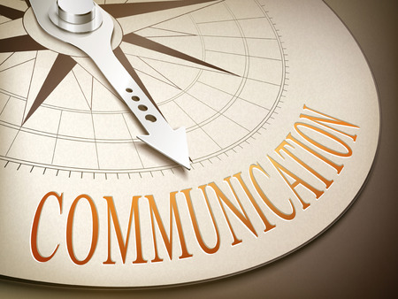 overcoming: 3d illustration compass needle pointing the word communication