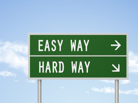 difficult decision: 3d illustration road sign with easy and hard way isolated on blue sky