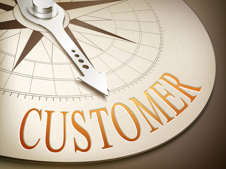 qualify: 3d illustration compass with needle pointing the word customer