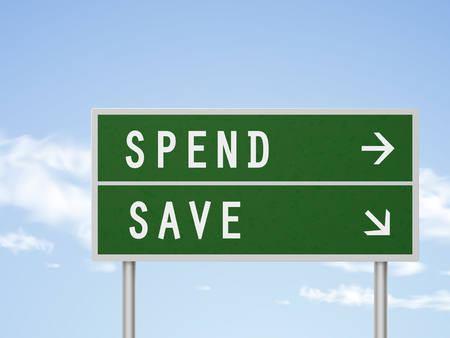spend: 3d illustration road sign with spend and save isolated on blue sky