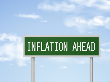 inflation: 3d illustration inflation ahead road sign isolated on blue sky