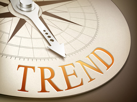 overcoming: 3d illustration compass with needle pointing the word trend