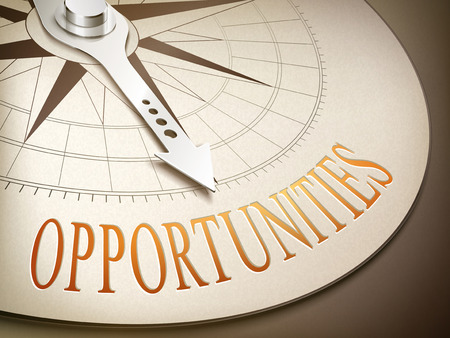 future business: 3d illustration compass needle pointing the word opportunities Illustration