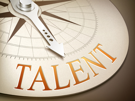 3d illustration compass with needle pointing the word talent 向量圖像