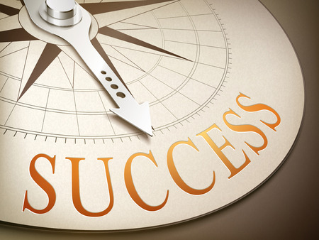 motivate: 3d illustration compass with needle pointing the word success