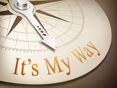 3d illustration compass needle pointing the word its my way Illustration