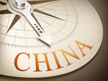 destination: 3d illustration compass with needle pointing the destination China Illustration