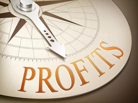 3D-Darstellung Kompass Nadel zeigt das Wort Gewinne Vektorgrafik
