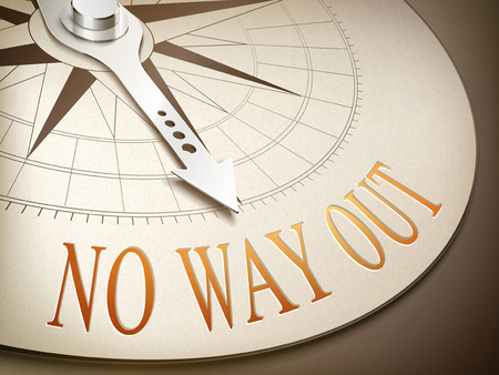 3d illustration compass needle pointing the word no way out