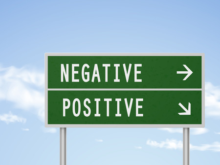 pessimist: 3d illustration road sign with negative and positive isolated on blue sky