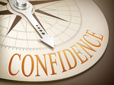 confidence: 3d illustration compass with needle pointing the word confidence