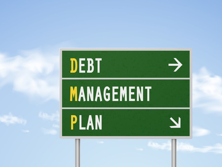 debt management: 3d illustration debt management plan road sign isolated on blue sky