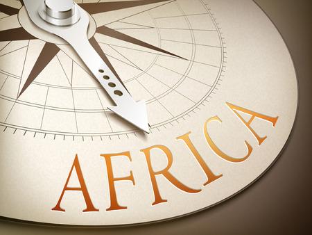 destination: 3d illustration compass needle pointing the destination Africa Illustration