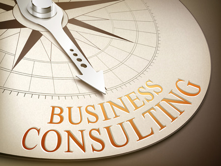 image consultant: 3d illustration compass needle pointing the word business consulting