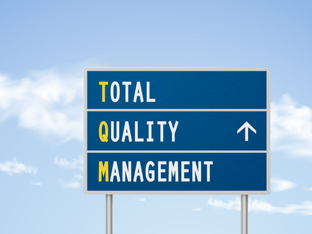 total: 3d illustration total quality management road sign isolated on blue sky Illustration