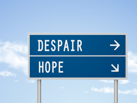 despair: 3d illustration road sign with despair and hope isolated on blue sky