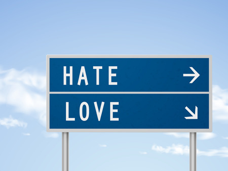 feel affection: 3d illustration road sign with hate and love isolated on blue sky Illustration