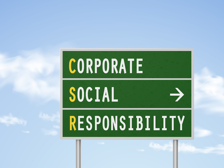 business ethics: 3d illustration corporate social responsibility road sign isolated on blue sky