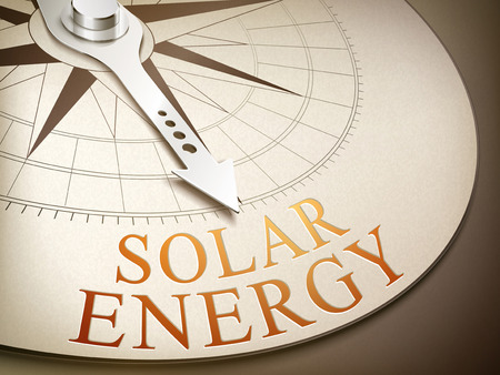 3d illustration compass with needle pointing the word solar energy