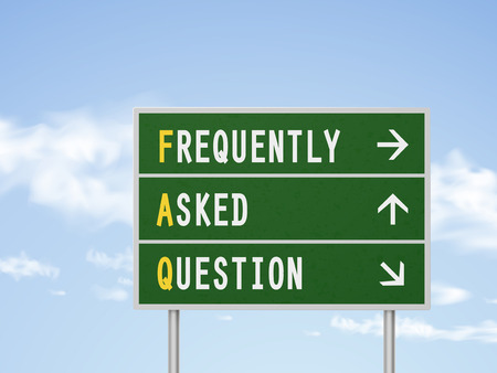 frequently: 3d illustration frequently asked questions road sign isolated on blue sky