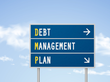 debt management: 3d illustration debt management plan road sign isolated on blue sky