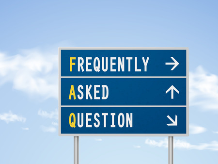asked: 3d illustration frequently asked questions road sign isolated on blue sky