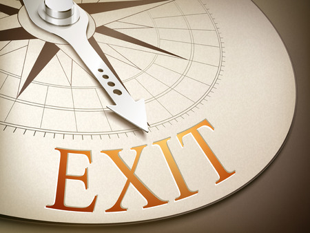 overcoming: 3d illustration compass needle pointing the word exit