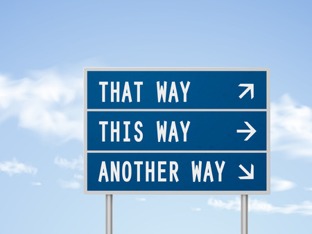 uncertain: 3d illustration road sign with different directions isolated on blue sky