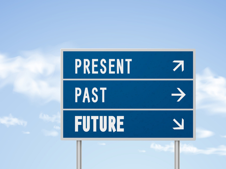 past: 3d illustration road sign with present past and future isolated on blue sky