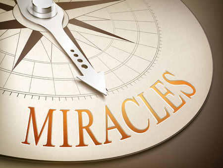 miracles: 3d illustration compass needle pointing the word miracles