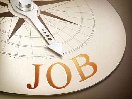 3d illustration compass needle pointing the word job
