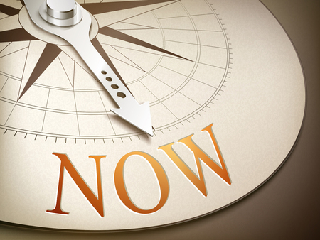 3d illustration compass needle pointing the word now Illustration