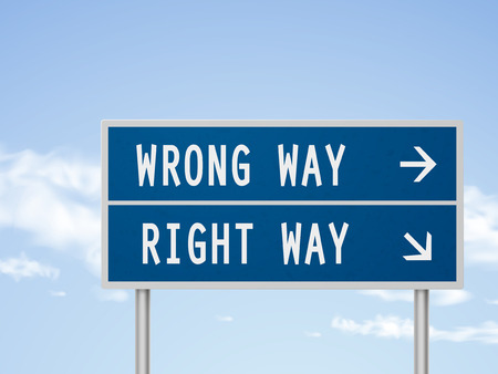 right of way: 3d illustration road sign with wrong and right way isolated on blue sky